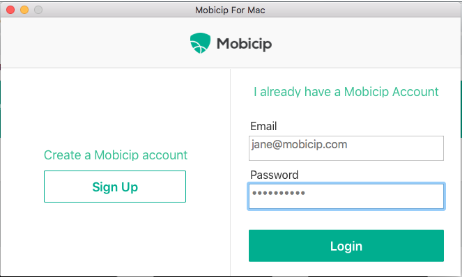 Create account or login to Mobicip account