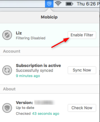 Enable Mobicip for Each User Account