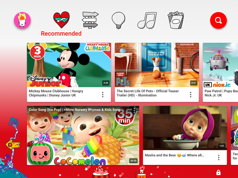 Recommended videos on YouTube Kids