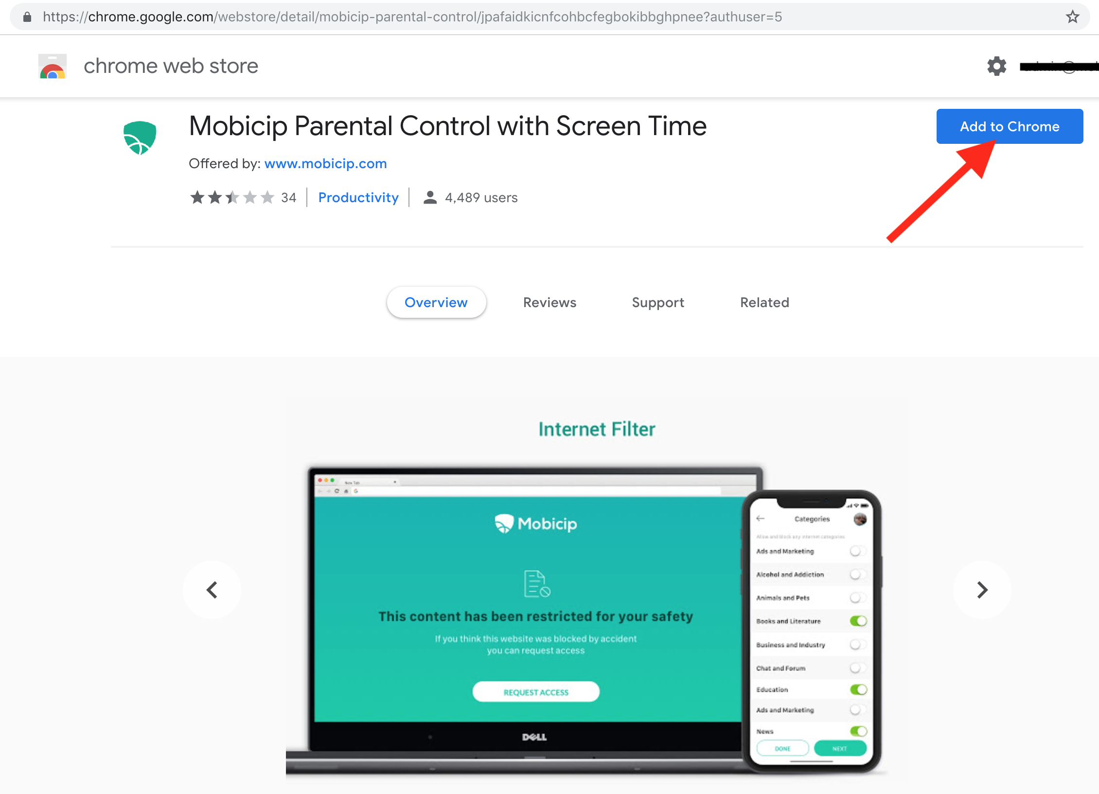 Mobicip Parental Control on Chrome WebStore