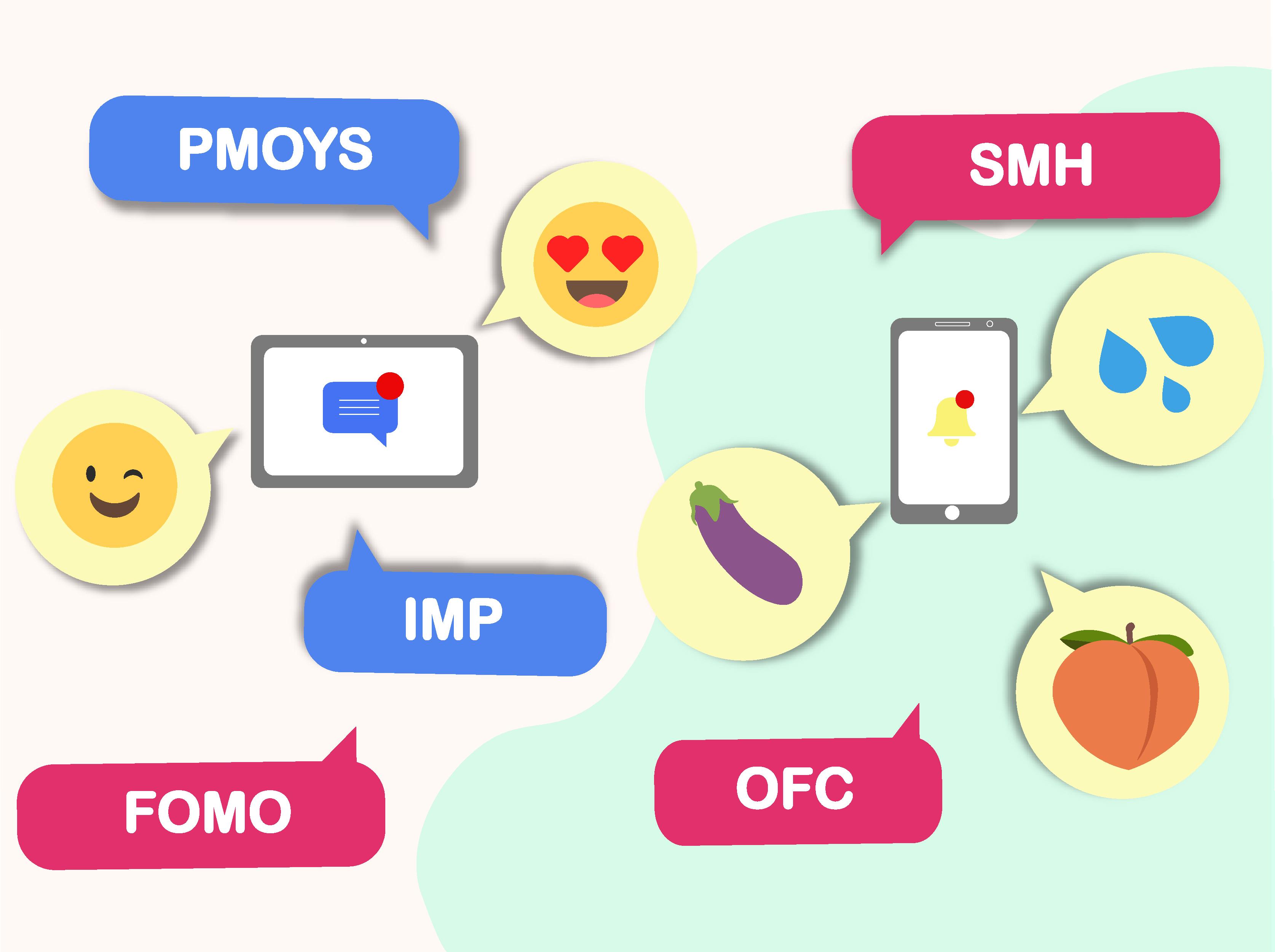 teen texting codes: PMOYS, SMH, OFC, FOMO, emojis