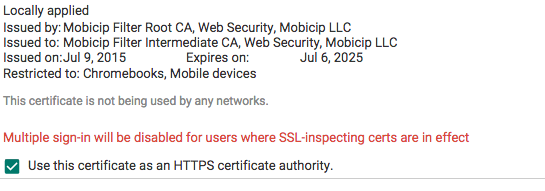 Install network access certificate
