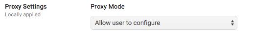 Proxy settings screenshot