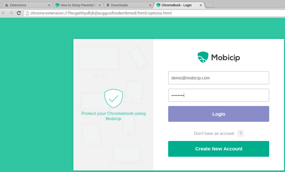 Screenshot of Mobicip Chrome login screen