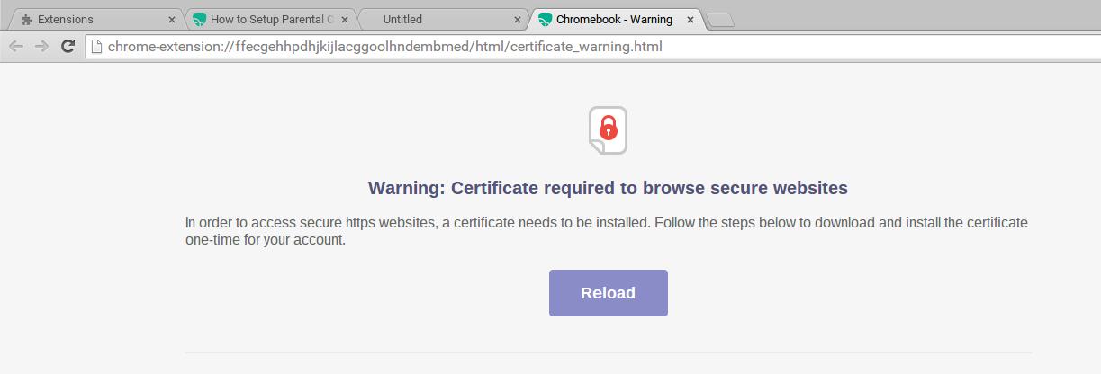 Mobicip certificate warning message