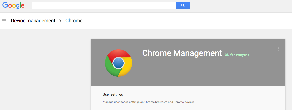 Device management Chrome screenshot