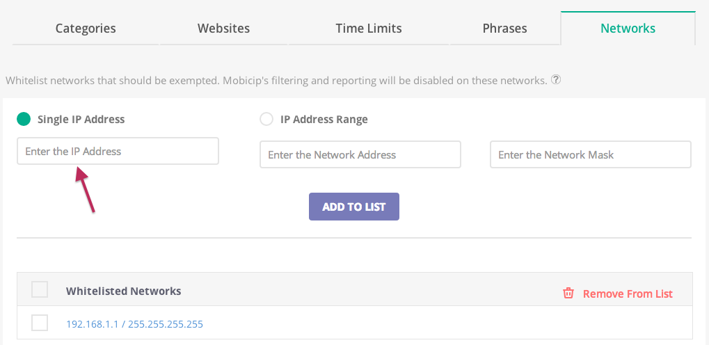 Single Network Exemption Screenshot