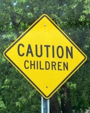 Caution children sign