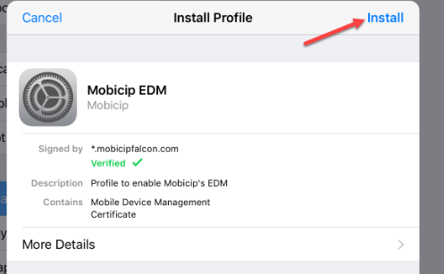 Install Mobicip parental control management profile
