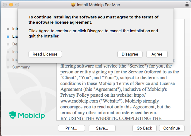 Readand agree to the terms of the software license agreement.
