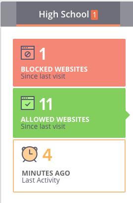 Screenshot of browsing history summary