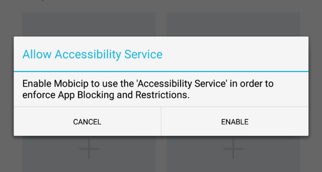 Screenshot of Accessibility Mode permission