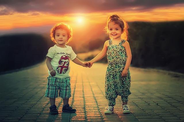 Beautiful kids posing at dusk