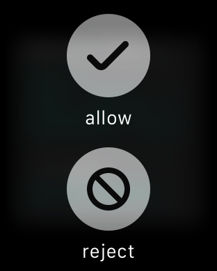 Allow or reject request buttons
